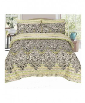 Black And Green Printed Floral Cotton Bedsheet SY-218