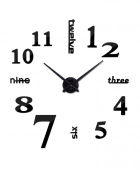 3d Black real big rushed mirror wall clock