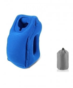 XC USHIO Blue Inflatable Travel Pillow Air Soft Cushion